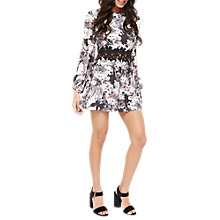 Buy Miss Selfridge Petite Crochet Trim Playsuit, Black Online at johnlewis.com