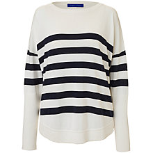 Buy Winser London Cotton Casual Stripe Jumper, Soft White/Midnight Navy Online at johnlewis.com