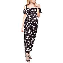 Buy Miss Selfridge Petite Bardot Floral Print Jumpsuit, Navy Online at johnlewis.com