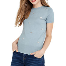 Buy Oasis Hotfix Heart Knit Jumper, Mid Blue Online at johnlewis.com