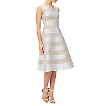 Buy Adrianna Papell Striped Lace And Mikado Dress, Ivory Online at johnlewis.com