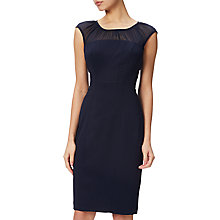 Buy Adrianna Papell Cap Sleeve Sheath Dress With Gathered Chiffon Neckline, Navy Online at johnlewis.com