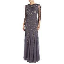 Buy Adrianna Papell Beaded Mermaid Gown, Gunmetal Online at johnlewis.com