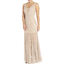 Buy Adrianna Papell Sleeveless Beaded Godet Gown, Nude/Silver Online at johnlewis.com