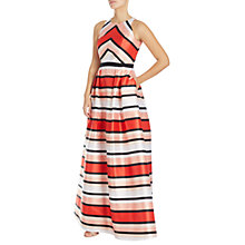 Buy Adrianna Papell Halterneck Stripe Print Ball Gown, Coral/Multi Online at johnlewis.com