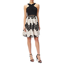 Buy Adrianna Papell Striped Lace Fit And Flare Dress, Black/Ivory Online at johnlewis.com