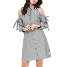 Buy Miss Selfridge Stripe Cold Shoulder Dress, Grey Online at johnlewis.com