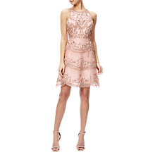 Buy Adrianna Papell Halterneck Beaded Cocktail Dress, Rose Gold Online at johnlewis.com