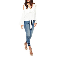 Buy Miss Selfridge Cold Shoulder Tie Front Top, White Online at johnlewis.com