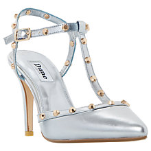 Buy Dune Catelyn Studded T-Bar Court Shoes, Blue Metallic Online at johnlewis.com