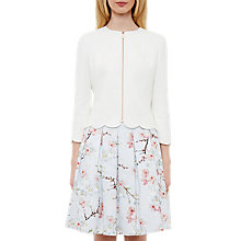 Buy Ted Baker Heraly Scallop Detail Cropped Jacket, Ivory Online at johnlewis.com