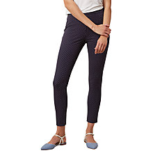 Buy Hobbs Amanda Printed Capri Trousers, Navy/White Online at johnlewis.com