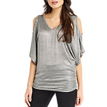 Buy Oasis Cold Shoulder Foil Kaftan, Silver Online at johnlewis.com