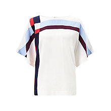 Buy Jigsaw Intarsia Check Silk Top, Ivory Online at johnlewis.com