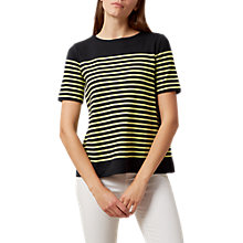 Buy Hobbs Phoebe Pleat Back Top, Navy/Lime Green Online at johnlewis.com