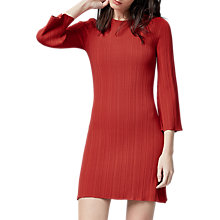 Buy Warehouse Ribbed Fluted Sleeve Dress, Bright Red Online at johnlewis.com