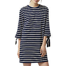 Buy Warehouse Tie Cuff Stripe Dress, Navy Online at johnlewis.com