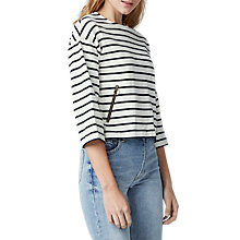 Buy Warehouse Zip Pocket Striped Top, White/Navy Online at johnlewis.com