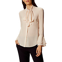 Buy Karen Millen Bow Ruffle Blouse, Ivory Online at johnlewis.com