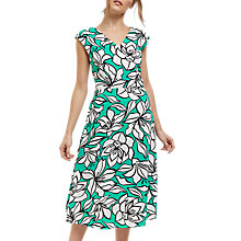 Buy Jaeger  Floral Fit-and-Flare Dress, Green Online at johnlewis.com
