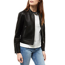 Buy Jaeger Raw Edge Leather Biker Jacket, Black Online at johnlewis.com