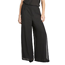 Buy Gina Bacconi Chiffon Layered Trousers With Slits, Black Online at johnlewis.com