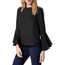 Buy Warehouse Button Back Fluted Sleeve Top, Black Online at johnlewis.com