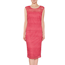 Buy Gina Bacconi Open Panel Embroidery Dress, Coral Red Online at johnlewis.com
