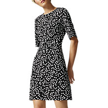 Buy Warehouse Ditsy Floral Ponte Dress, Black Online at johnlewis.com