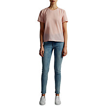Buy French Connection Classic Crepe Pleat Back T-Shirt, Capri Blush Online at johnlewis.com