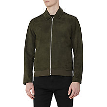 Buy Reiss Holt Suede Bomber Jacket, Green Online at johnlewis.com