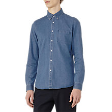 Buy Reiss Garison Washed Denim Shirt, Light Blue Online at johnlewis.com