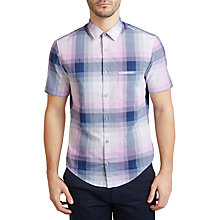 Buy BOSS Green C-Bansino Short Sleeve Check Shirt, Open Purple Online at johnlewis.com