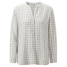 Buy Jigsaw Grid Floral Silk Blouse, Ivory Online at johnlewis.com