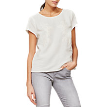 Buy Mint Velvet Floral Embroidered T-Shirt, Ivory Online at johnlewis.com