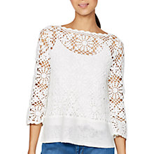 Buy Mint Velvet Crochet Flared Sleeve Knit Top, Ivory Online at johnlewis.com