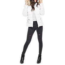 Buy Miss Selfridge Petite Quilted Puffa Jacket, Silver Online at johnlewis.com