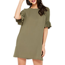 Buy Miss Selfridge Flute Sleeve Dress, Khaki Online at johnlewis.com