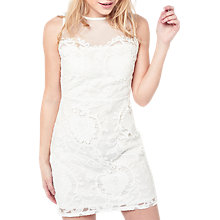 Buy Miss Selfridge Petite Mesh Yoke Dress, White Online at johnlewis.com