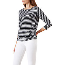 Buy Hobbs Rebecca Ruched Top, Navy/White Online at johnlewis.com