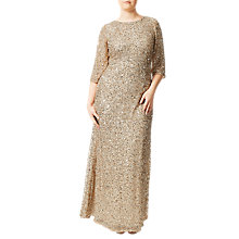 Buy Adrianna Papell Plus Size Three-Quarter Sleeve Beaded Mermaid Gown, Champagne Silver Online at johnlewis.com