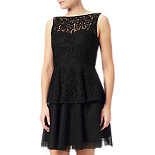 Buy Adrianna Papell Petite Lace Detail Peplum Dress, Black Online at johnlewis.com