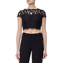 Buy Adrianna Papell Petite Cap Sleeve Lace Evening Top, Black Online at johnlewis.com