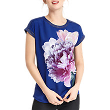 Buy Oasis Digital Floral Dream T-Shirt, Mid Blue Online at johnlewis.com