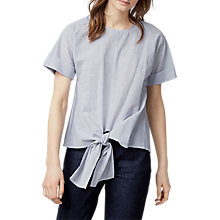 Buy Warehouse Thin Stripe Tie Front Cotton Top, Blue Online at johnlewis.com