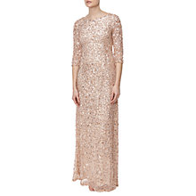 Buy Adrianna Papell Petite Three-Quarter Sleeve Beaded Mermaid Gown, Champagne Silver Online at johnlewis.com