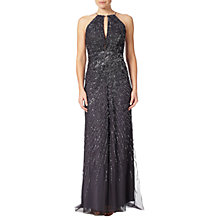Buy Adrianna Papell Petite Halterneck Fully Beaded Gown, Gunmetal Online at johnlewis.com