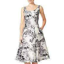 Buy Adrianna Papell Printed Mikado Tea Length Dress, White/Multi Online at johnlewis.com