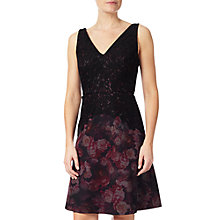 Buy Adrianna Papell Petite Lace Top Fit And Flare Dress, Black Online at johnlewis.com