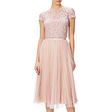 Buy Adrianna Papell Petite Sunburst Pleat Tulle Skirt, Blush Online at johnlewis.com
